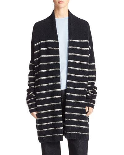 Plush Striped Long Cardigan