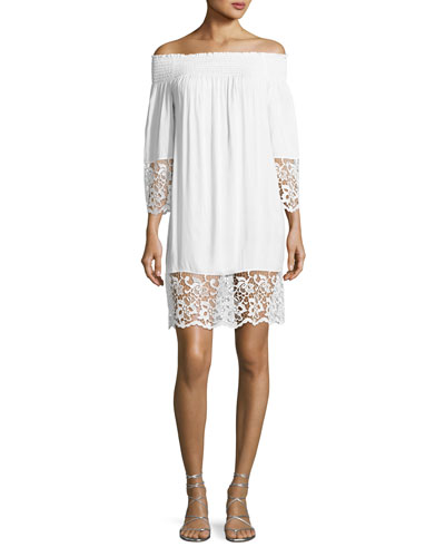 Plage et Ville Off-the-Shoulder Lace-Trim Dress, White