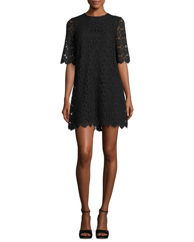 short-sleeve daisy lace shift dress, black