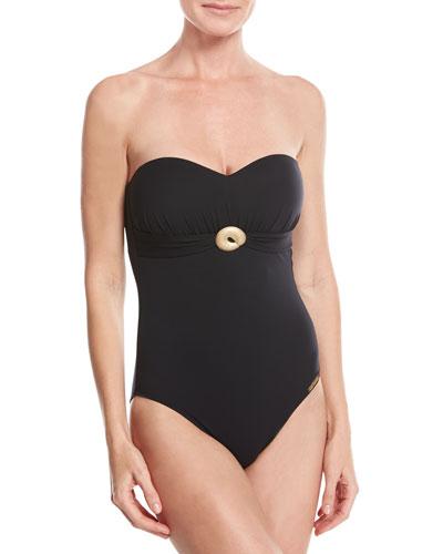 Casting Beaute Bandeau One-Piece Swimsuit, Black