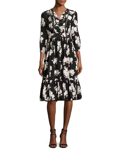 3/4-sleeve smocked silk posy dress, black