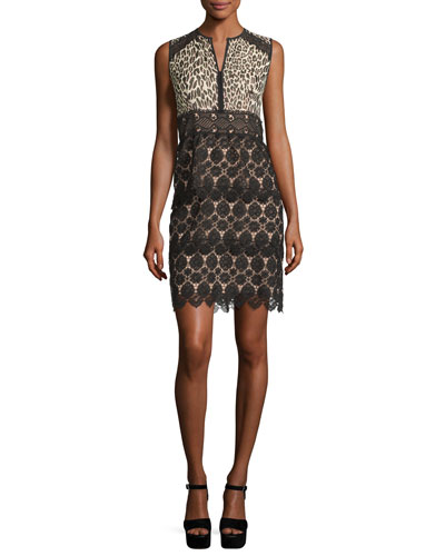 Sleeveless Leopard & Lace Sheath Dress