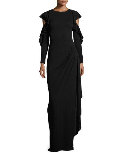 Cold-Shoulder Draped Jersey Column Gown, Black