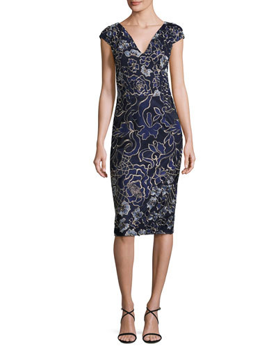 Cap-Sleeve Embroidered Sheath Dress, Blue/Multicolor