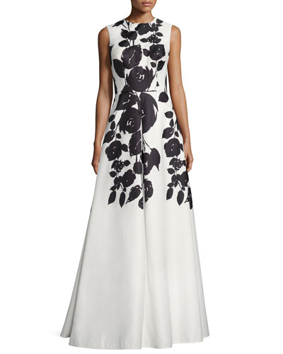 Sleeveless Floral Satin Gown, White/Black