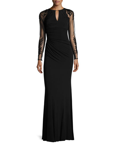 Sheer-Sleeve Jersey Column Gown, Black