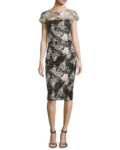 Short-Sleeve Floral Mesh Sheath Dress, Multicolor