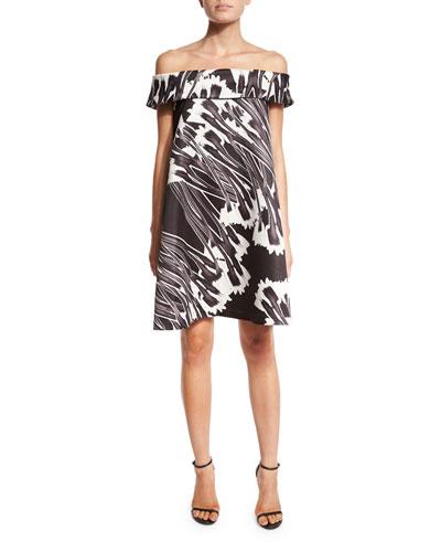 Off-the-Shoulder Printed Cocktail Dress, Black