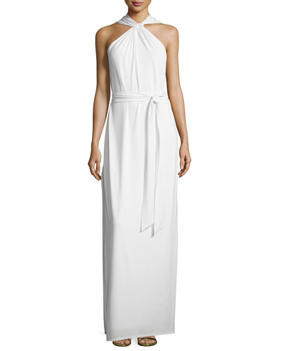 Sleeveless Crisscross Slit Gown, Chalk