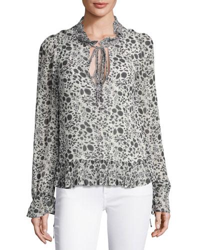 Edina Floral-Print Tie-Neck Blouse, Black/White