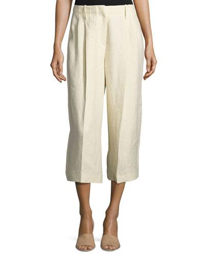 Tai Linen Twill Wide-Leg Cropped Pants, Sand