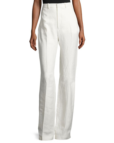 Ferguson Linen Twill Wide-Leg Pants, Off White
