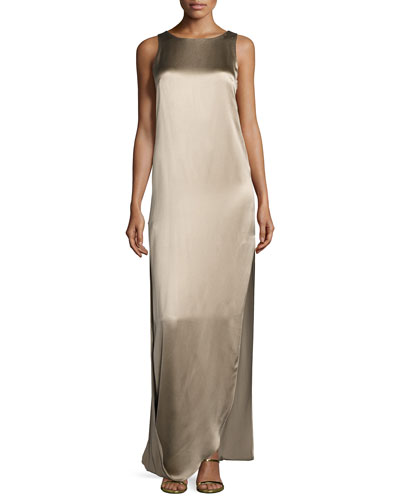 Sleeveless Satin & Matte Column Gown, Oat