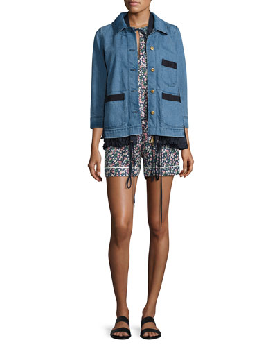 Hous Drawstring Chambray Jacket, Blue