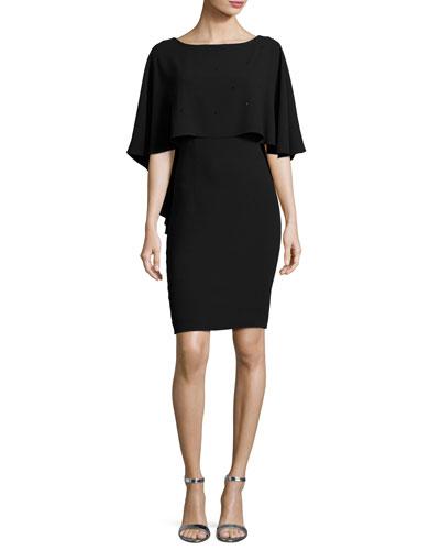 Lightweight Sequined Cape Dress, Black