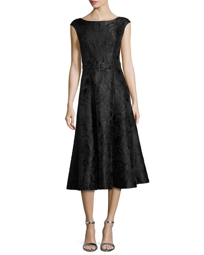 Avani Rose Jacquard Cap-Sleeve Dress, Black