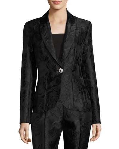 Avani Rose Jacquard Jacket, Black
