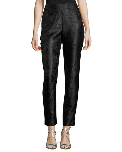 Avani Rose Jacquard Slim Ankle Pants, Black