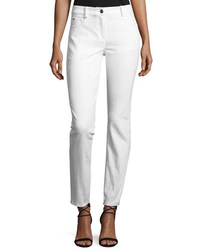 Bardot Jacquard Slim-Fit Capri Jeans, White
