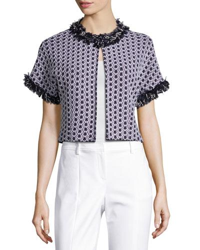 Aadi Tweed Short-Sleeve Jacket, White/Multi