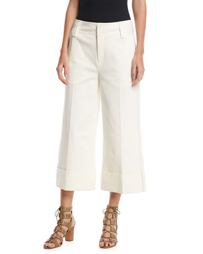 Stretch Twill Cuffed Culottes, White