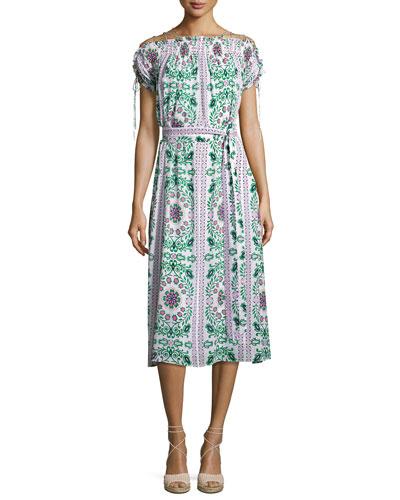 Asilomar Lace-Up Short-Sleeve Silk Dress