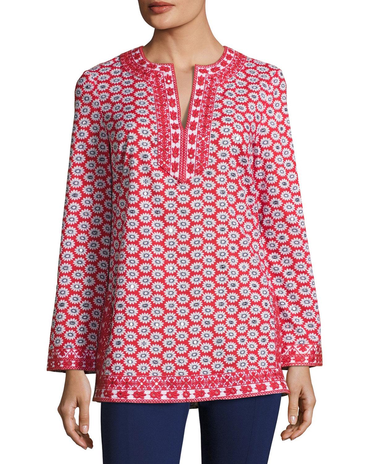 Jayne Mod Flower-Print Embellished Voile Tunic, Red