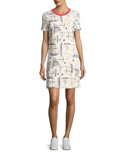 Adrift Sailboat-Print Cotton T-Shirt Dress, White