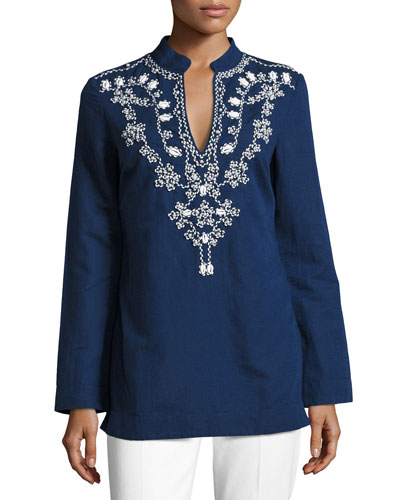 Long-Sleeve Embellished Tory Tunic w/ Puka Shells, Navy