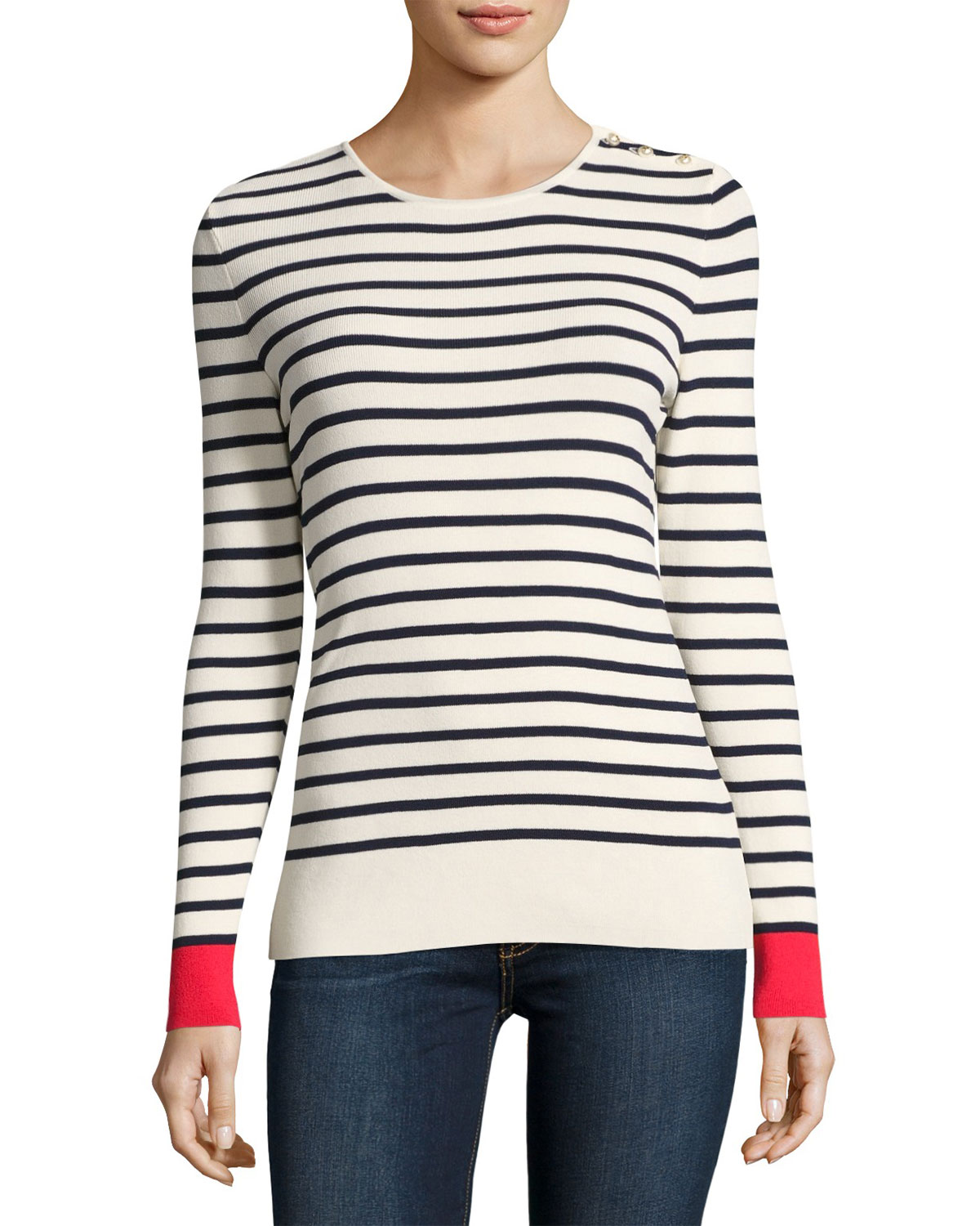 Ramona Striped Button-Shoulder Sweater
