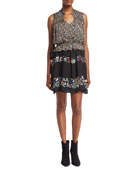 2-in-1 Floral Chiffon Mini Dress, Black