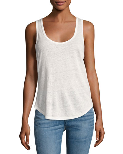 Rugby Linen Jersey Tank, Blanc (White)