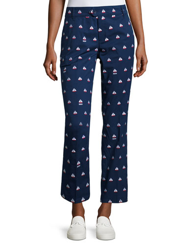 Starboard Embroidered Chino Cropped Pants, Navy