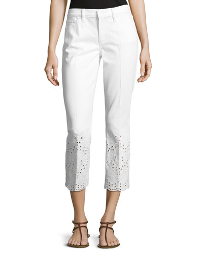 Mateo Scalloped Cropped Eyelet-Hem Jeans, White