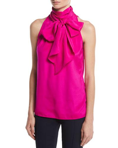 Charmeuse Halter Necktie Top, Pink