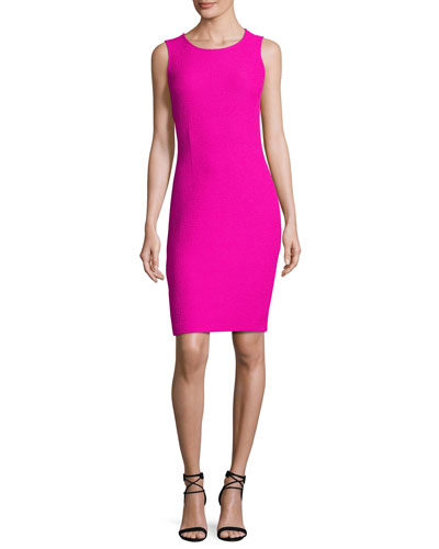 Clair Knit Jewel-Neck Dress, Pink