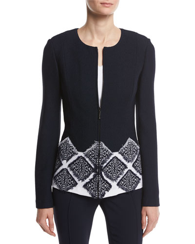 Ahem Knit Fil Coupé Jewel-Neck Jacket, Navy