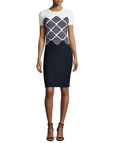 Ahem Knit Fil Coupé Short-Sleeve Sheath Dress, Navy