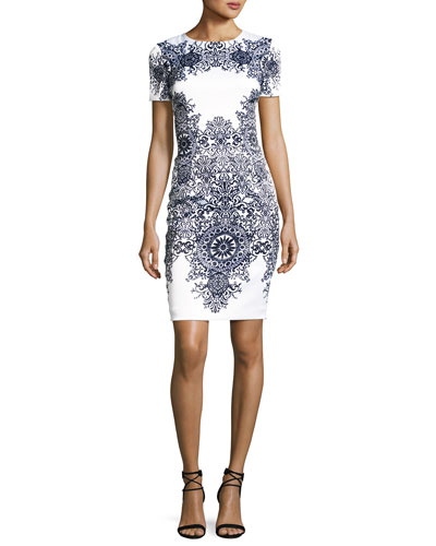 Nellore-Print Stretch Satin Short-Sleeve Dress, White/Multi