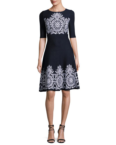 Nellore Jacquard Knit Flared Dress, Navy