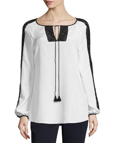 Lace-Trim Tie-Neck Blouse, White