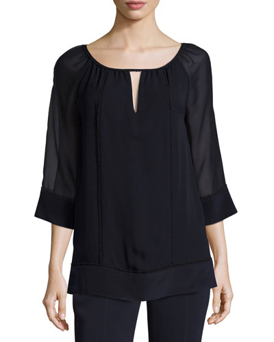Lace-Trim 3/4-Sleeve Silk Blouse, Navy