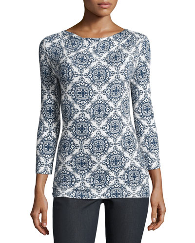 Mandala-Print Jersey Bateau-Neck Top, White/Multi