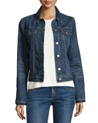Cuff-Less Jean Jacket, Medium Indigo
