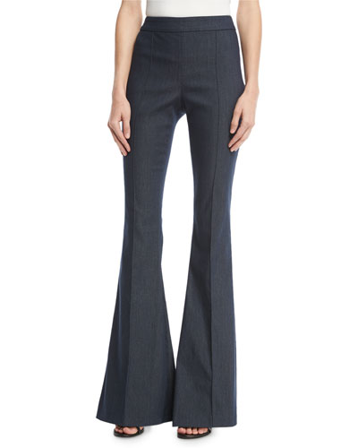 Stretch Denim Flared Pants, Dark Blue