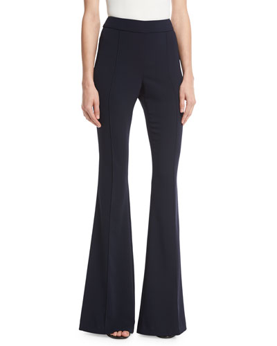 Stretch Cady Flared Pants, Navy