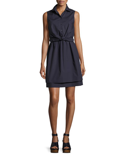 Sleeveless Tied Poplin Shirtdress, Navy