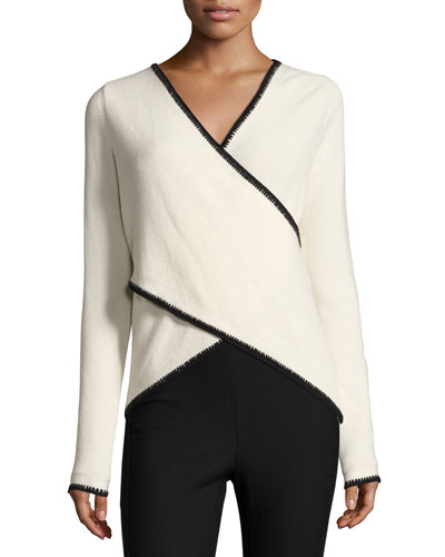 Blanket-Stitched Cross-Front Sweater, White/Black