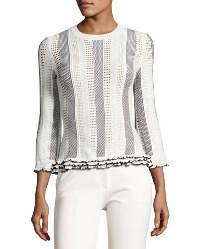 3/4-Sleeve Striped Eyelet Sweater, White/Black