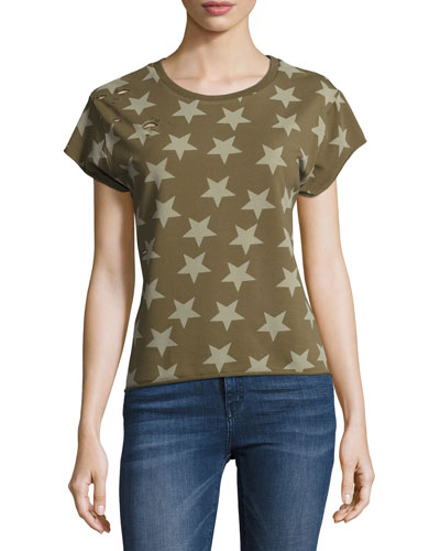 Star Distressed Pullover Sweatshirt, Green